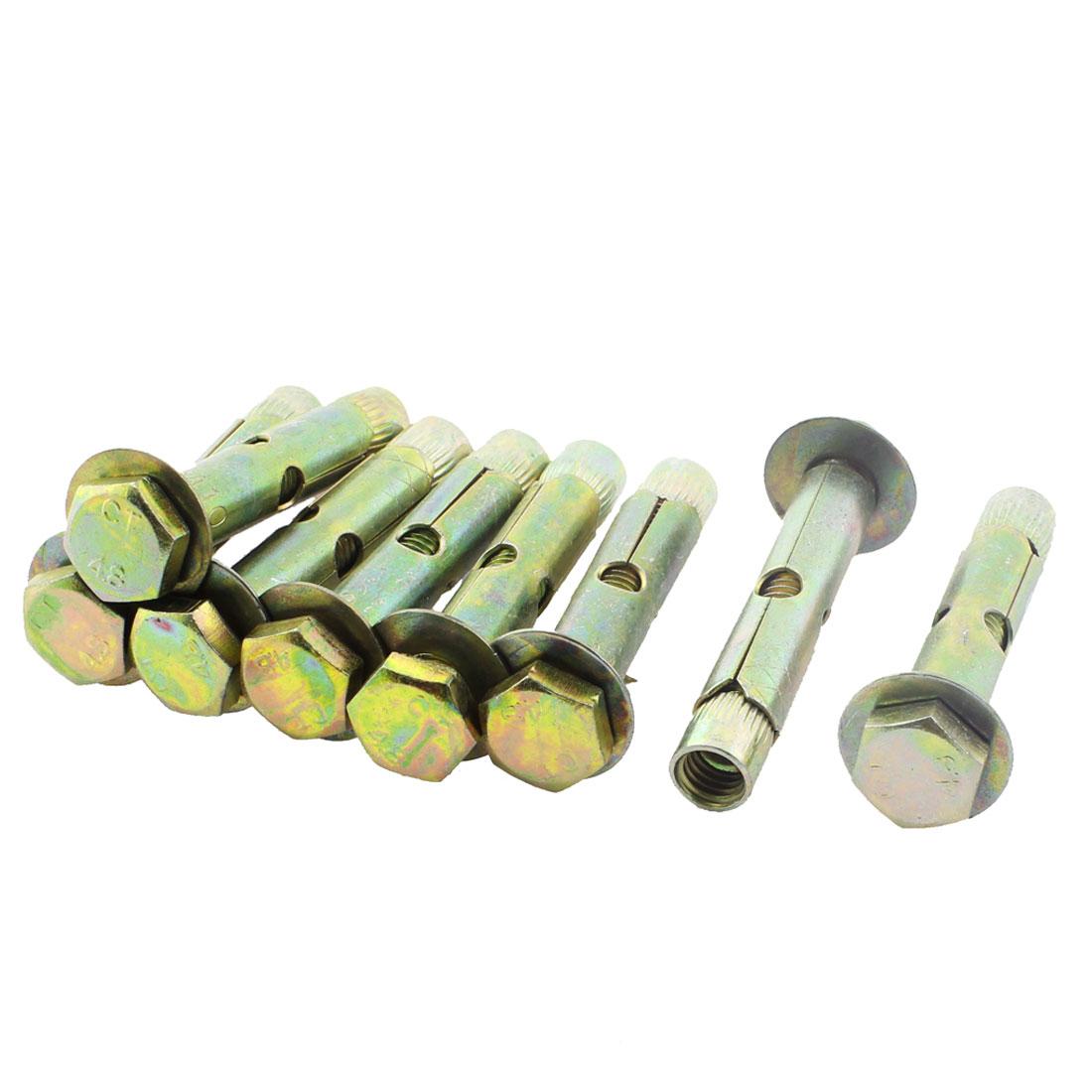 8Pcs M8 x 49mm Thread 54mm Long Hex Nut Split Sleeve Expansion Bolts Anchors Screws Fasteners