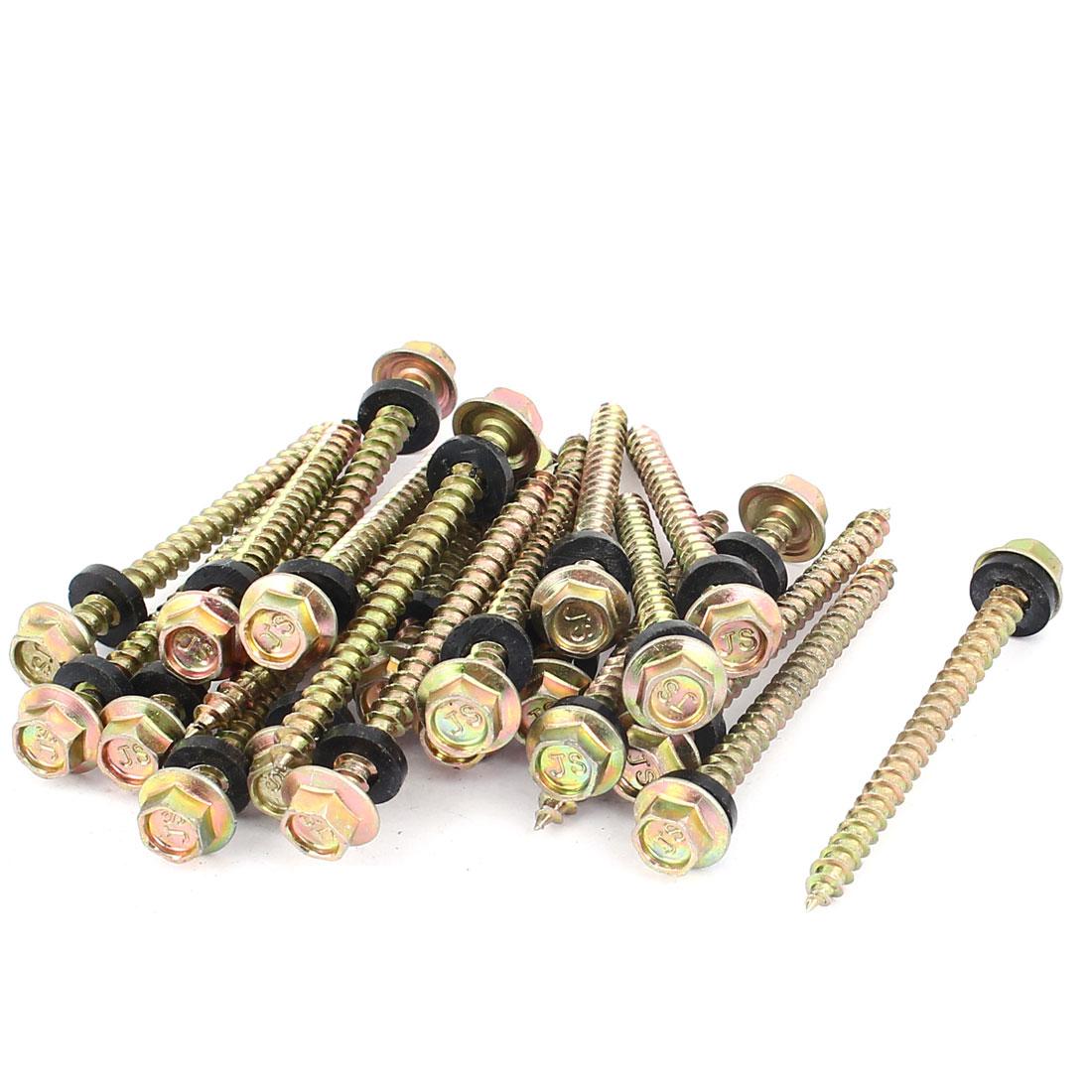 23pcs M5 x 60mm Male Thread Hex Head Self Tapping Drilling Screw Fastener w Washer