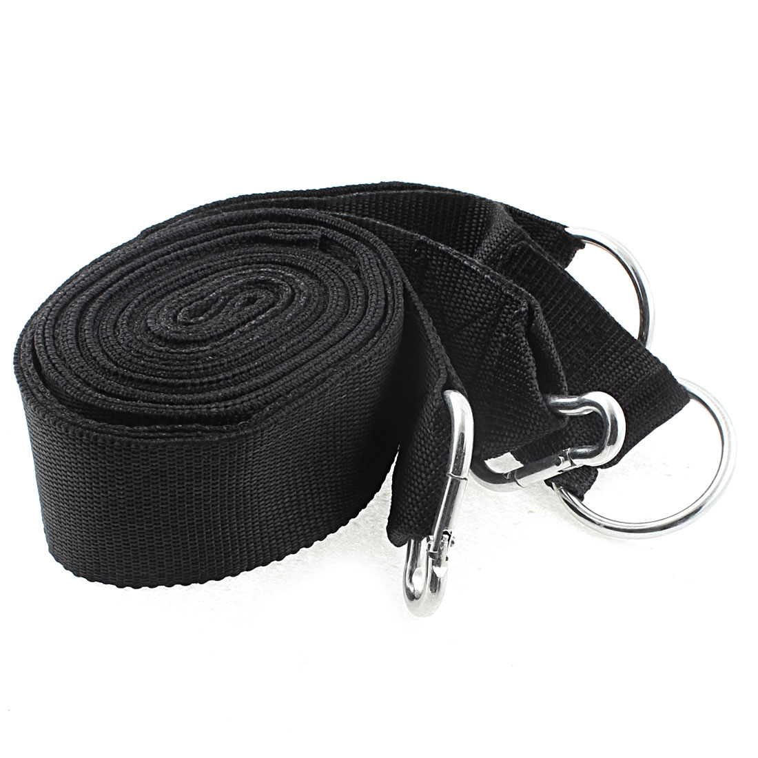 2pcs 10ft 3 Meters Long Carabiner Hook Clip Ring Black Nylon Hanging Hammock Strap Safety Belt Band
