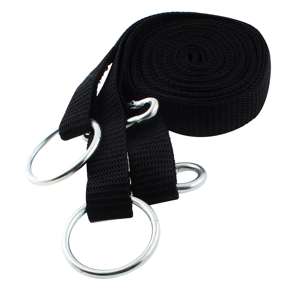 Carabiner Nylon Belt Band Hanging Ring Hammock Strap Safety Black 8Ft Long 2pcs