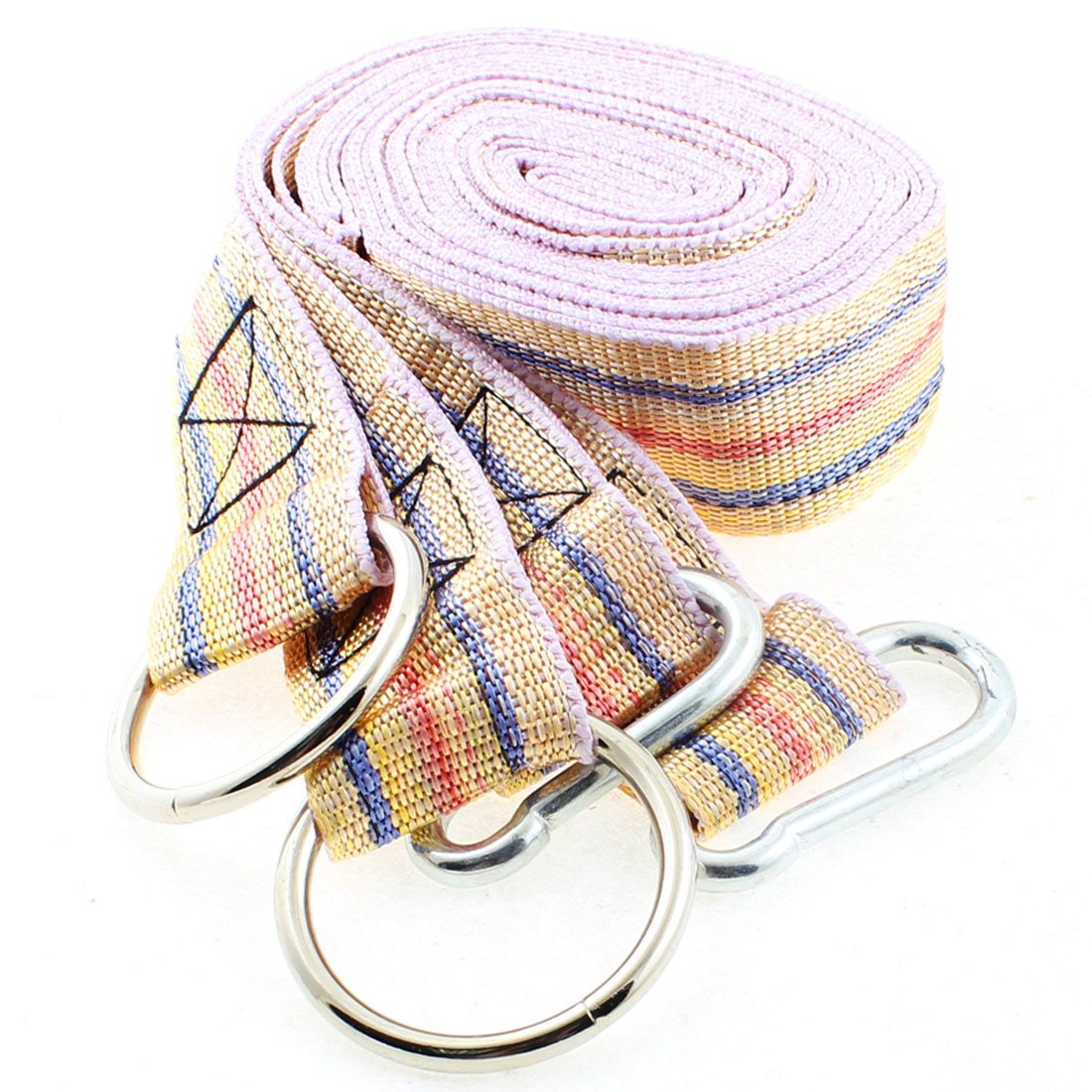 2 Pcs 3.8cm Width 2.5M Long Yellow Nylon Hanging Hammock Strap Safety Belt Band w Carabiner Hook