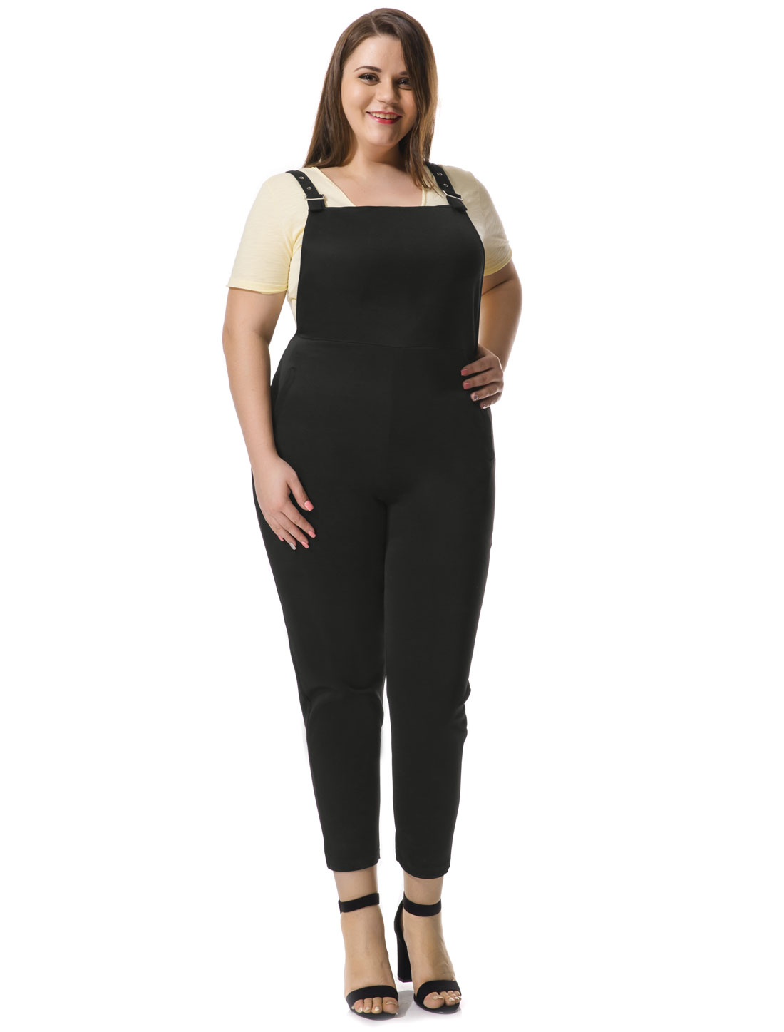 Women Plus Size Pinafore Overalls w Side Pockets Black 2X