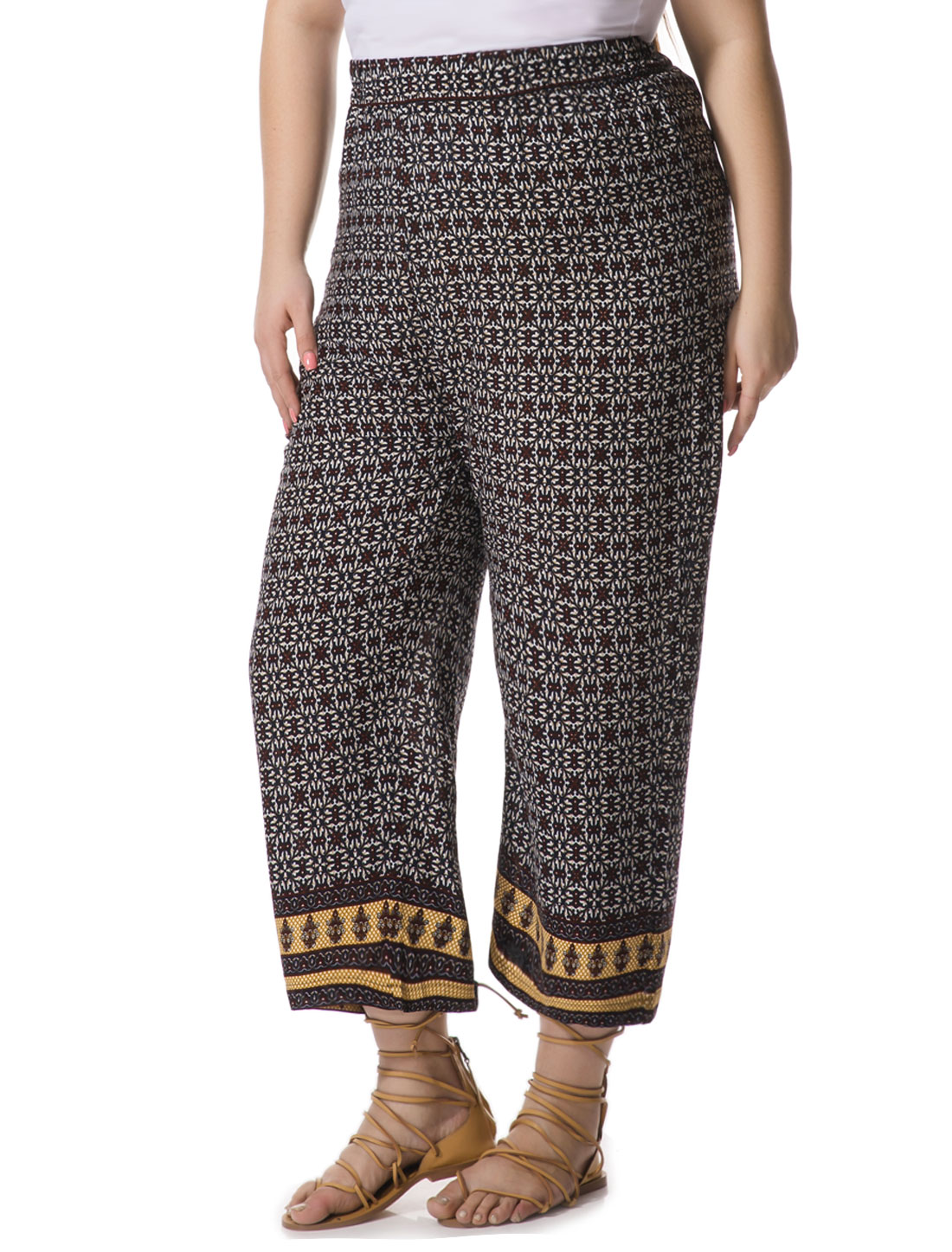 Women Plus Size Ethnic Pattern Palazzo Pants Blue 2X
