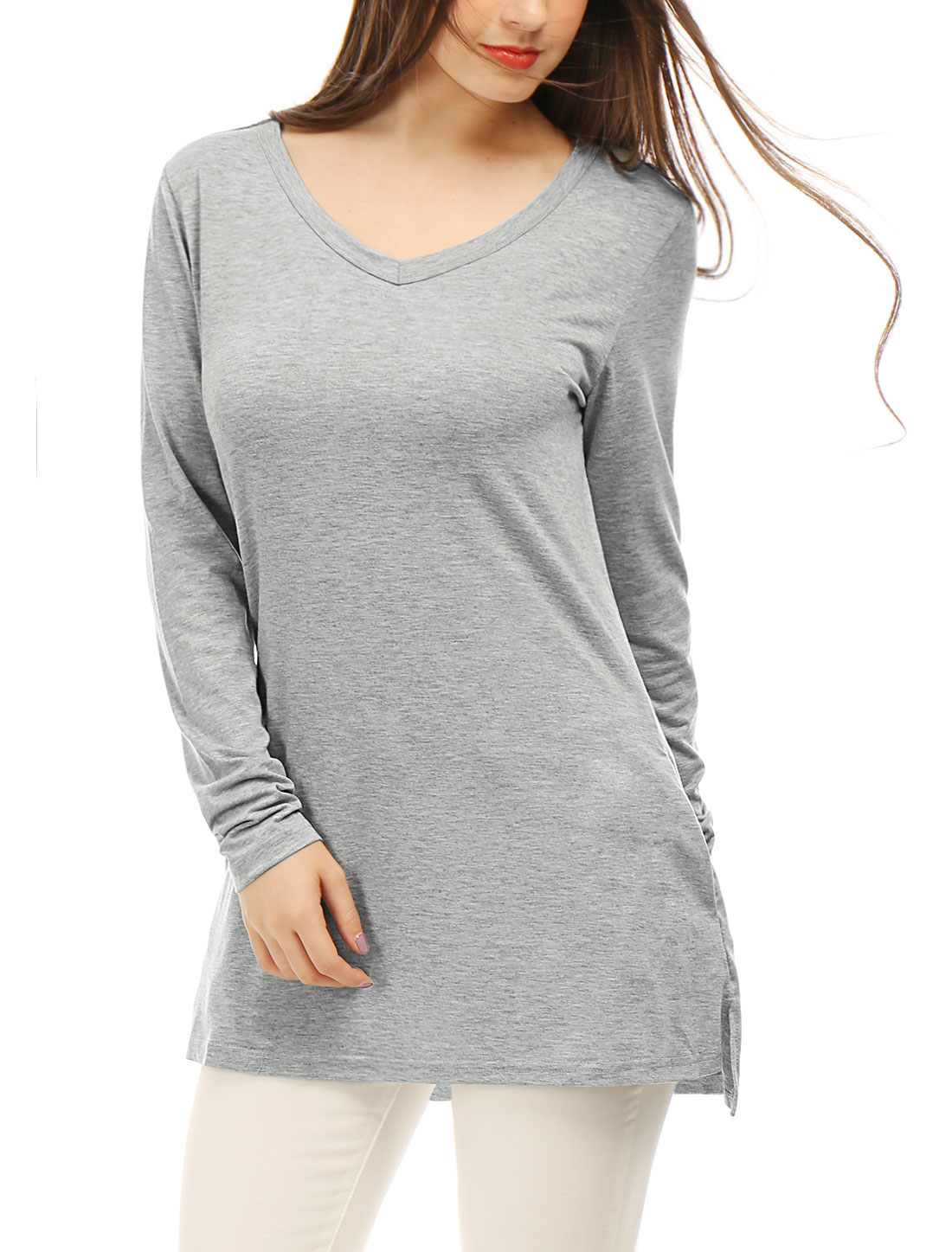 Woman V Neck Long Sleeves Side Split Tunic Top w Pockets Light Gray L