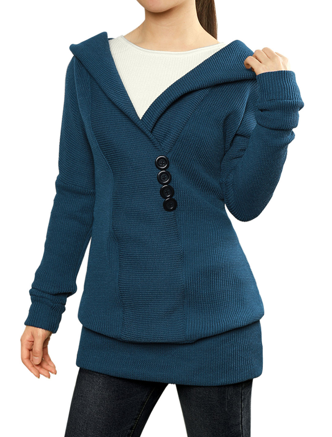 Woman Shawl Collar Buttons Decor Hooded Tunic Sweater Blue XL