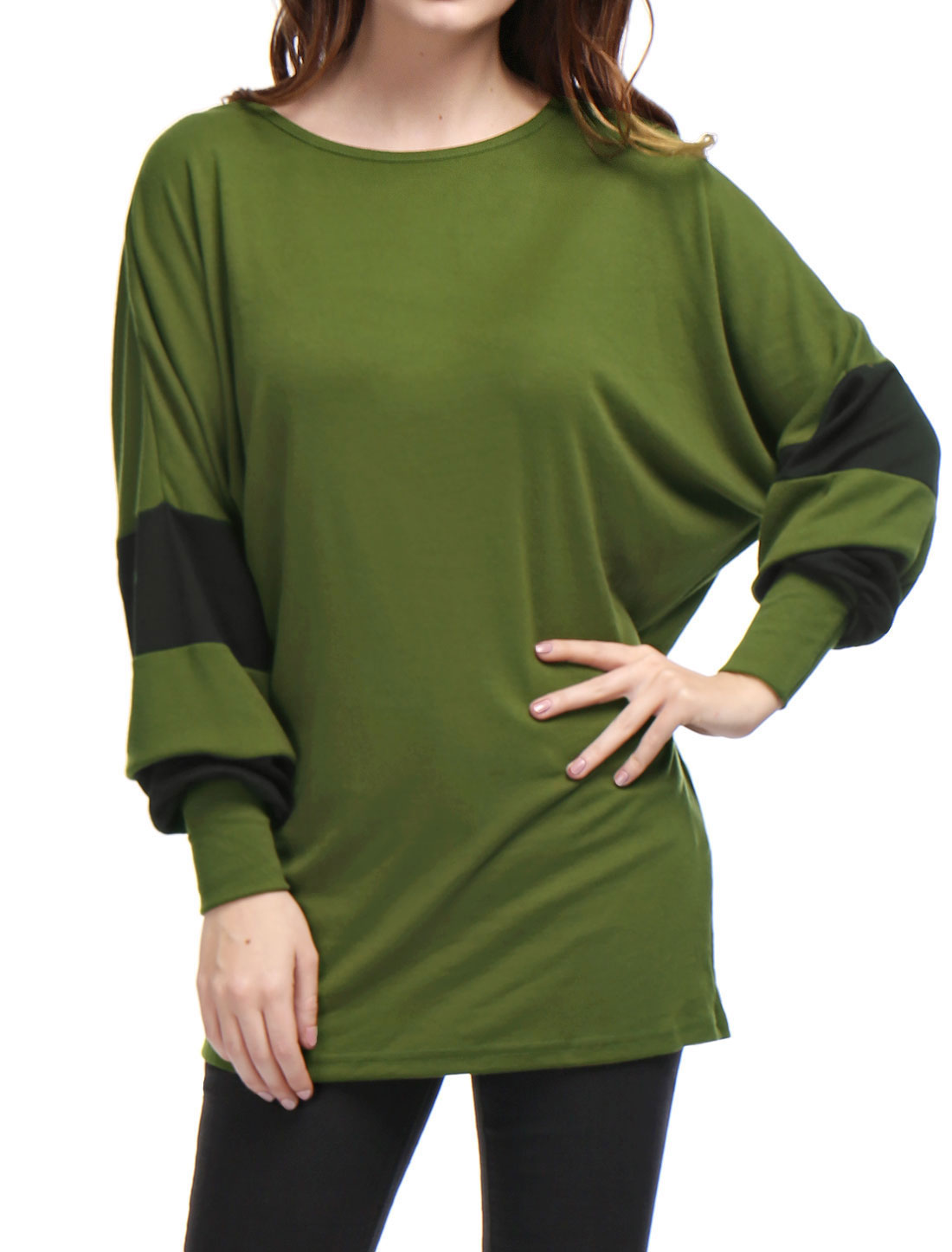 Women Color Block Batwing Loose Tunic Top Green XS