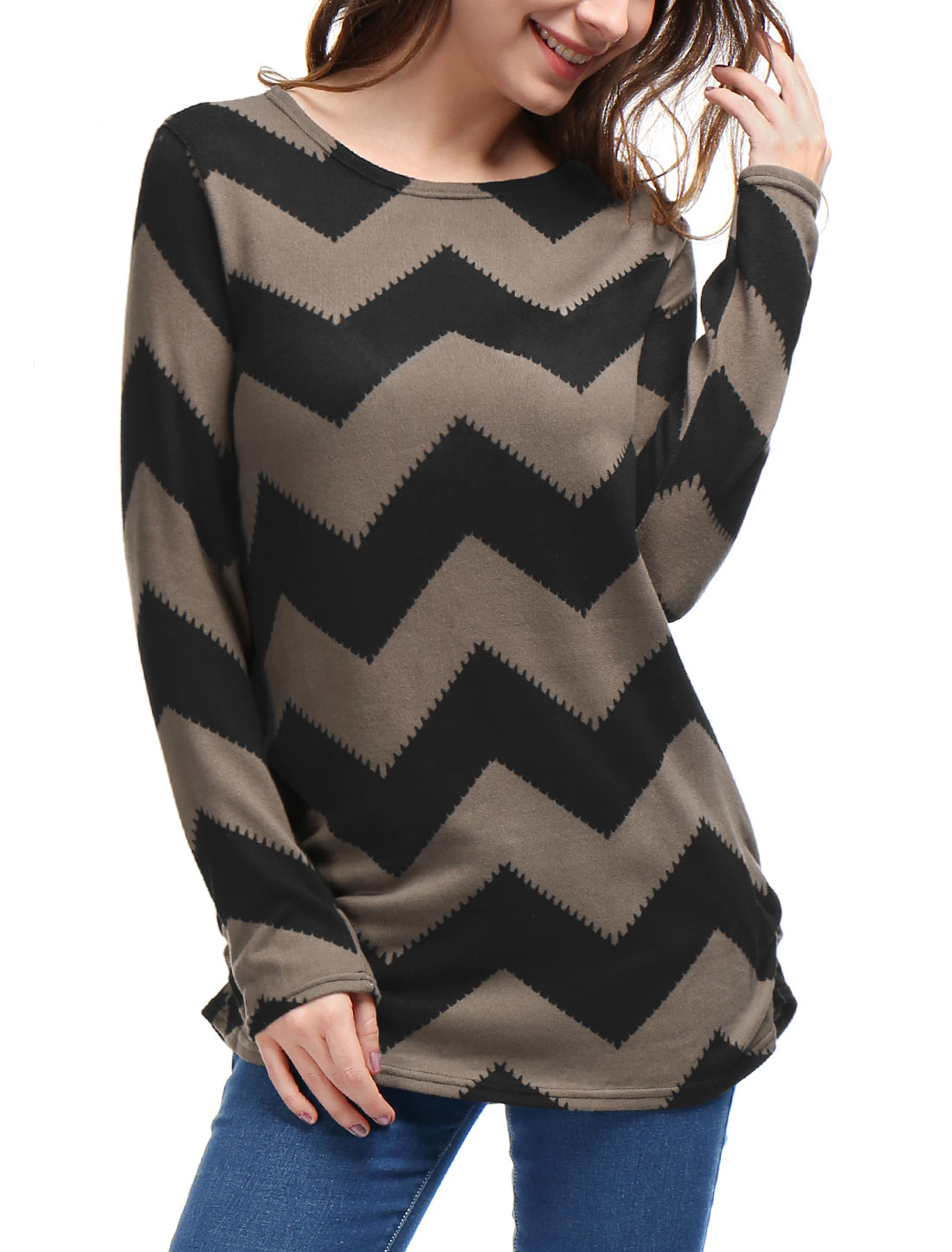 Woman Zig-Zag Pattern Knitted Loose Tunic Shirt Black Brown L
