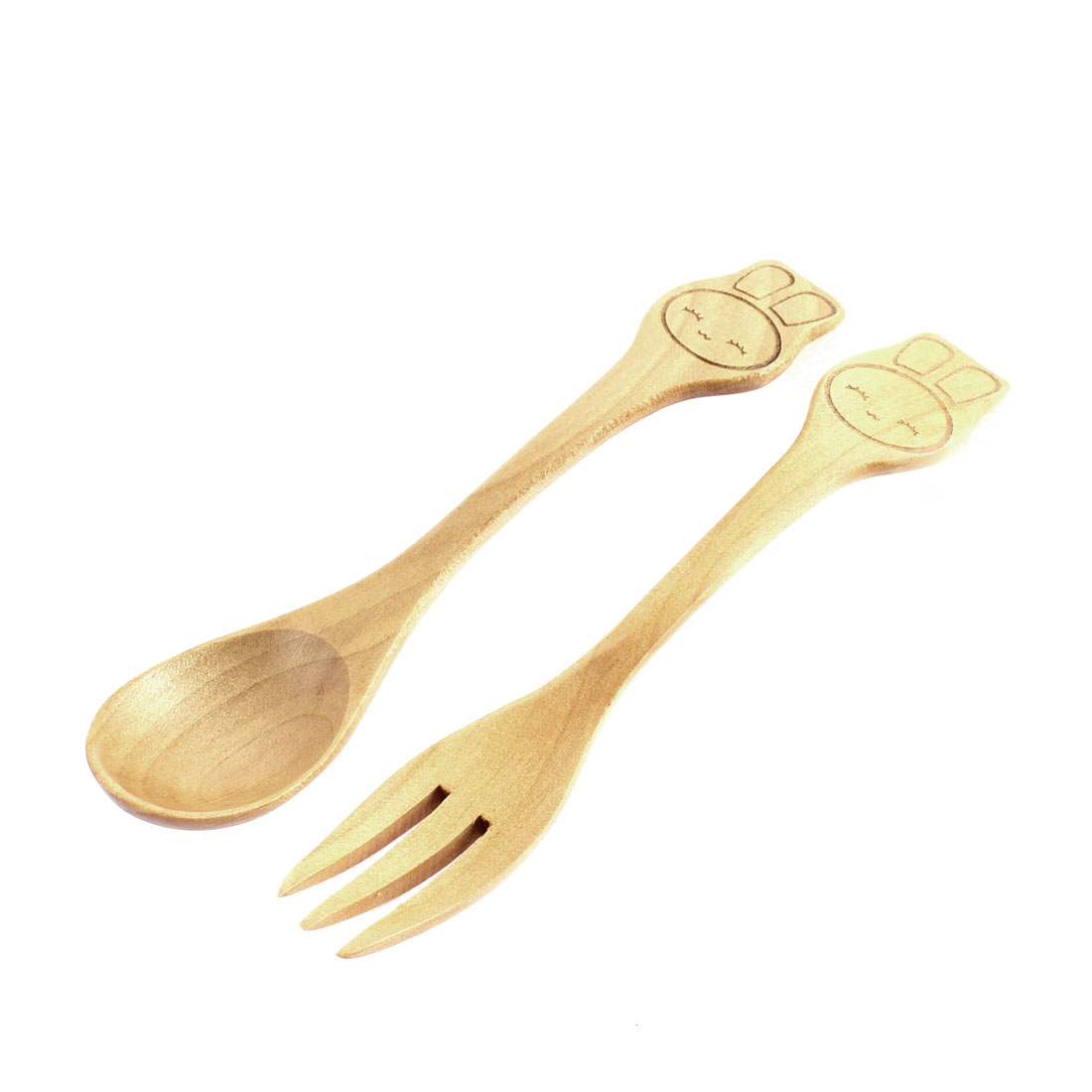 Household Travel Wooden Smiling Face Pattern Food Fork Spoon Set