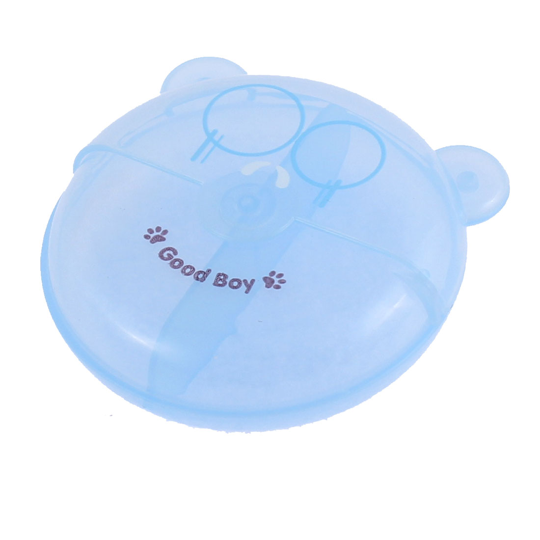 Plastic Bear Design Rotated Lid 2 Compartments Storage Box Holder Blue