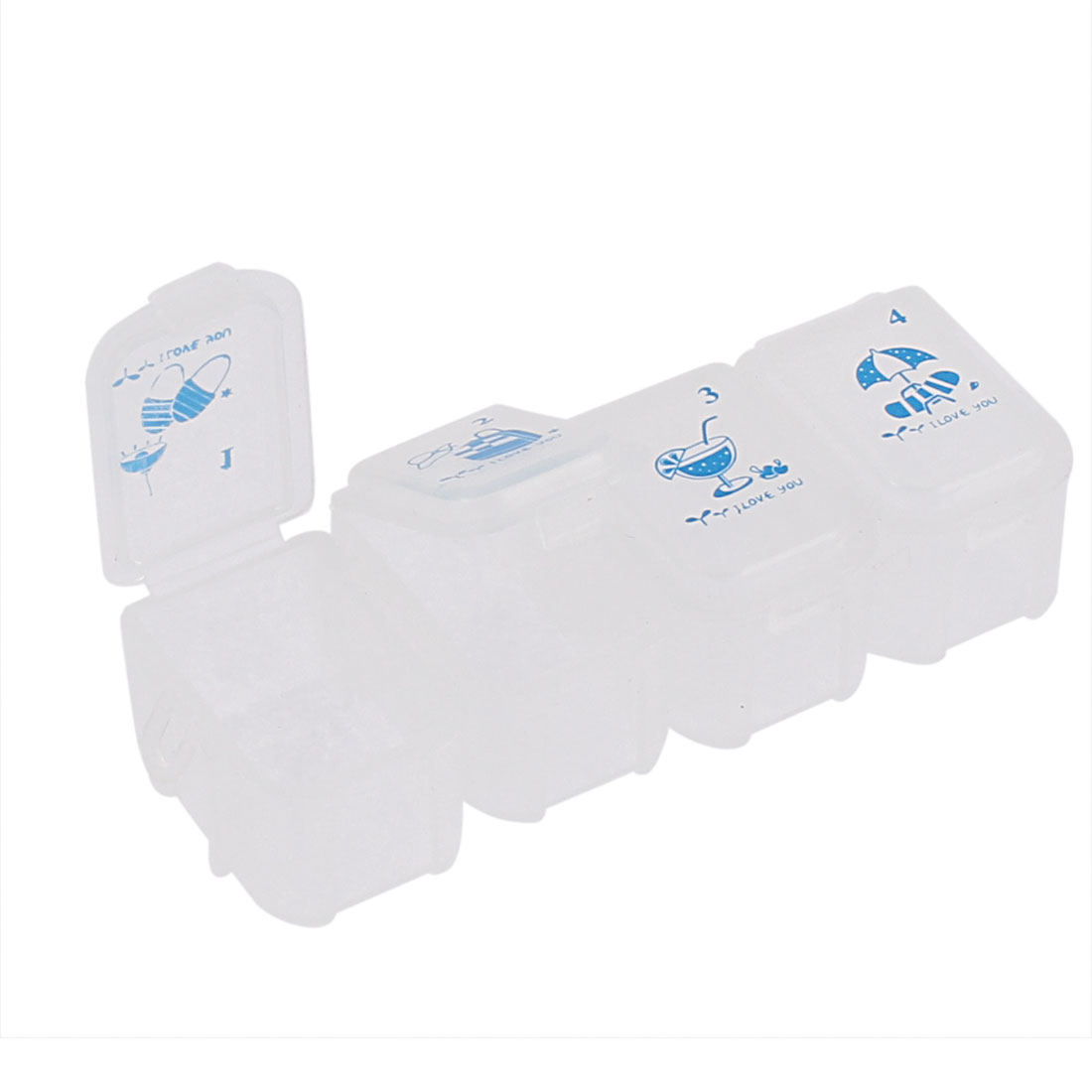 Travel Plastic 4 Compartments Pill Box Case Organizer Blue White