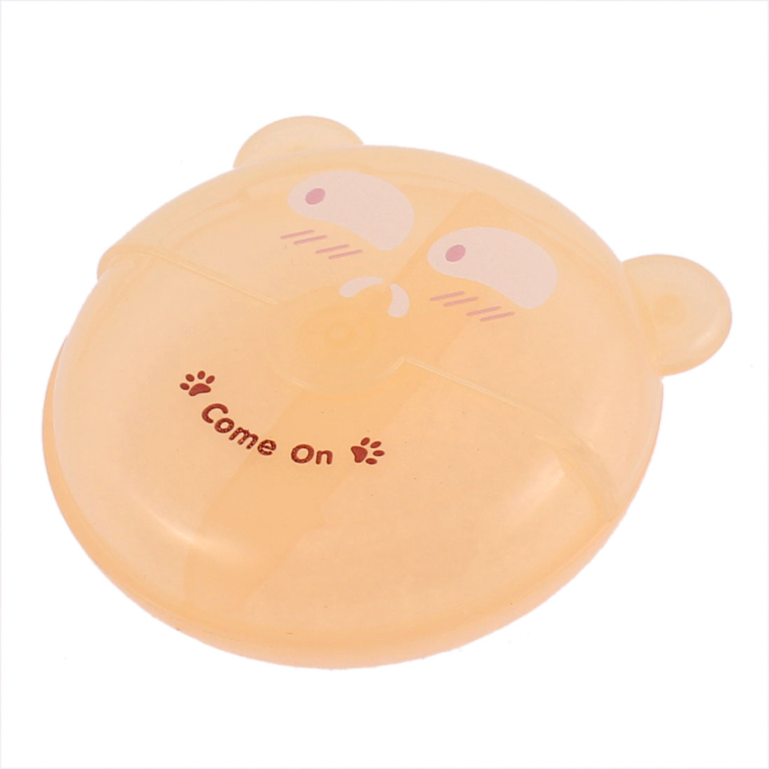Plastic Bear Design Rotated Lid 2 Slots Storage Box Case Light Orange