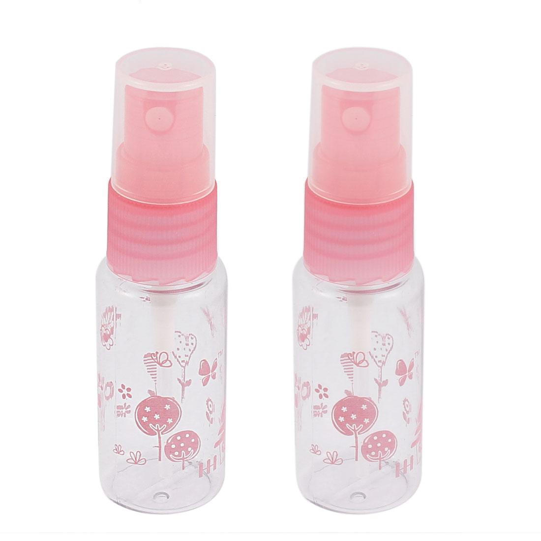 Plastic Cosmetic Perfume Liquid Container Spray Bottles 15ml Pink 2pcs