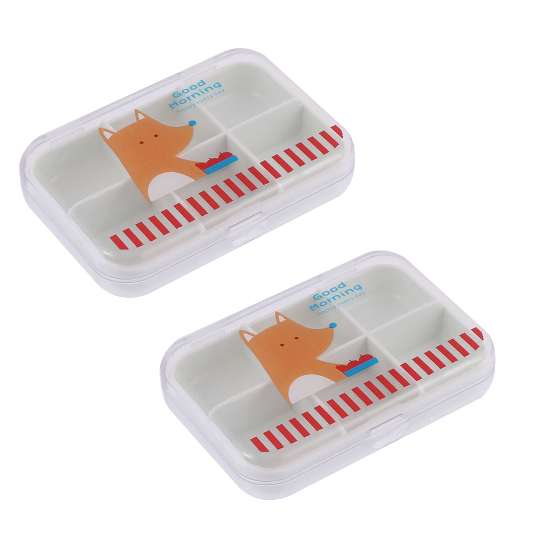 Plastic Bear Printed 6 Compartments Storage Box Container Holder 2pcs