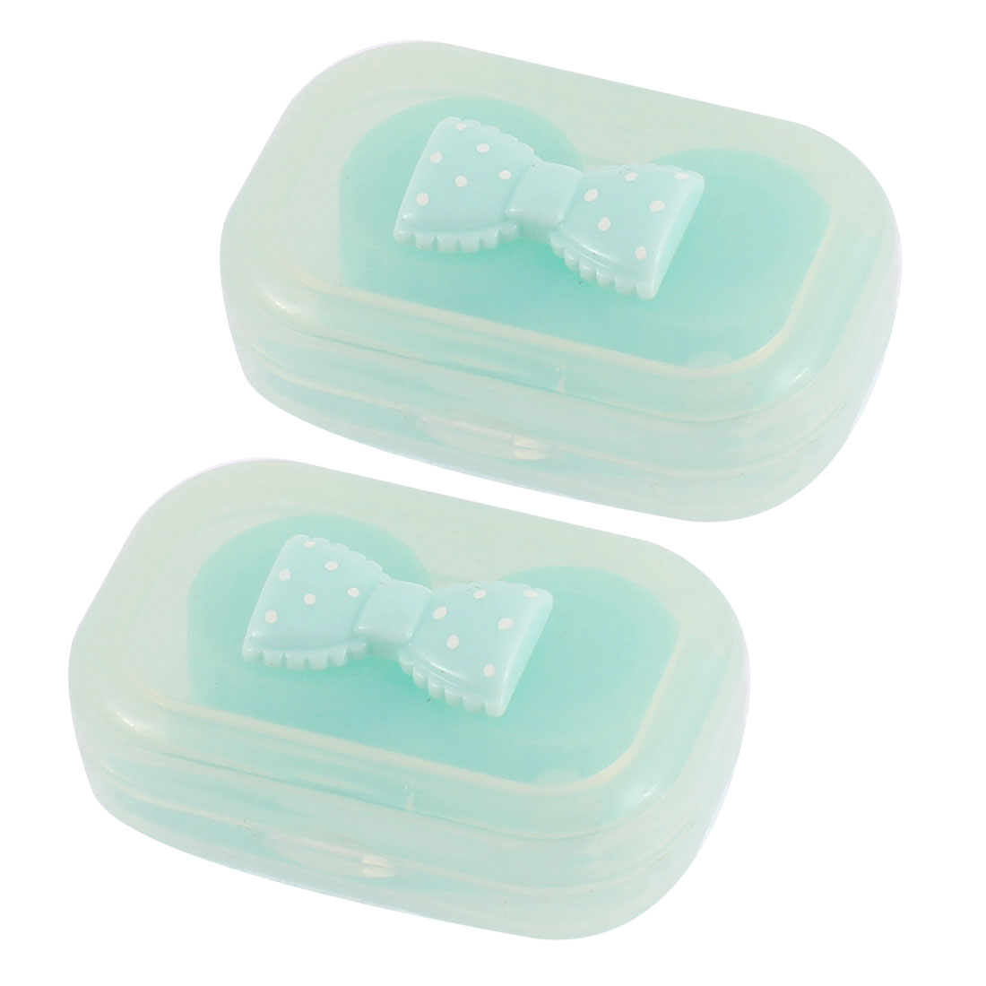 Plastic Bowknot Decor Contact Lens Soak Box Holder Storage Green 2pcs