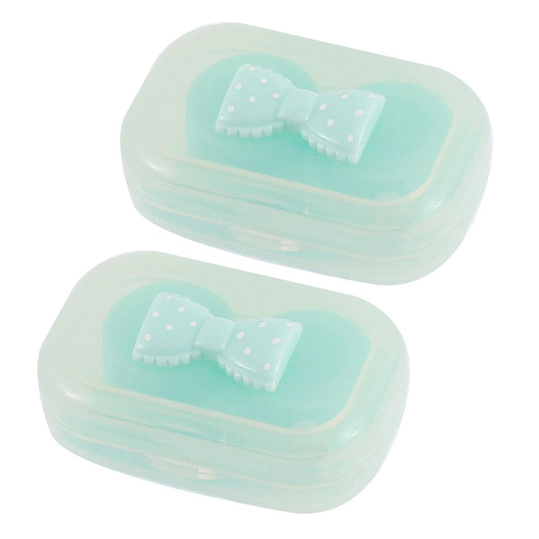 Plastic Bowknot Decor Contact Lens Soak Box Holder Storage Green 2pcs