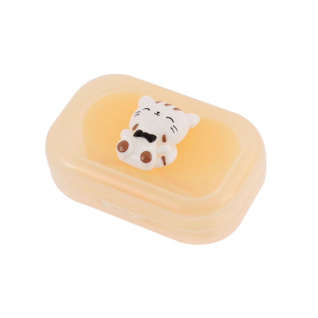 Plastic Cat Decor Contact Lens Soak Box Case Holder Storage Yellow