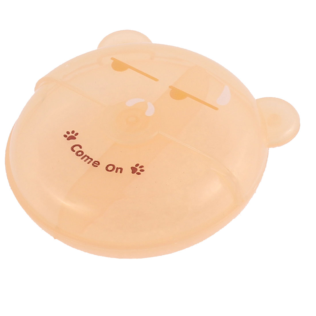 Plastic Bear Shape Rotated Lid 2 Slots Storage Box Holder Light Orange