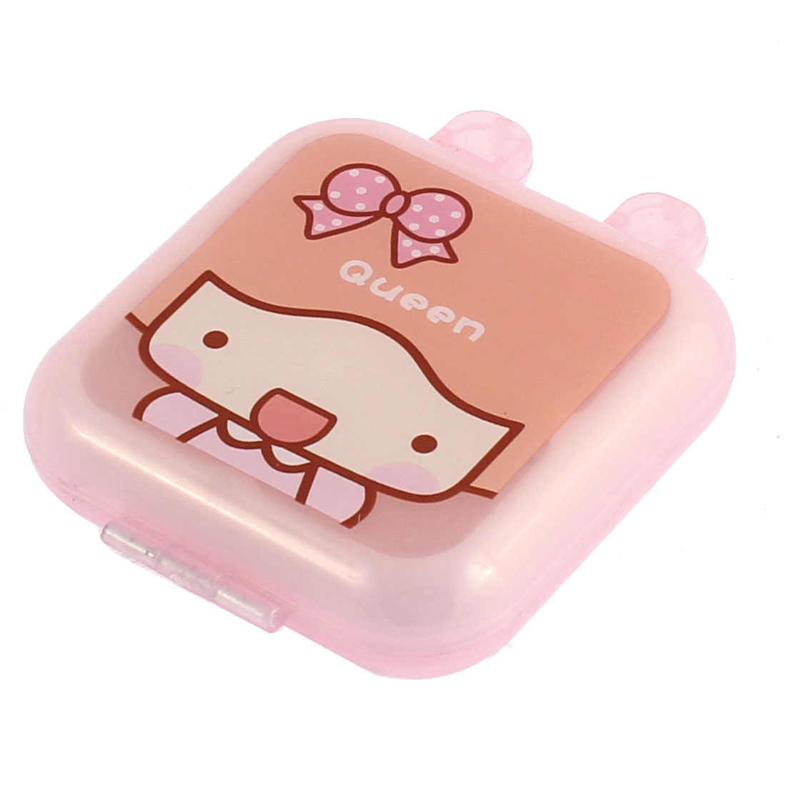 Plastic Square Girl Pattern 4 Slots Storage Box Container Case Pink