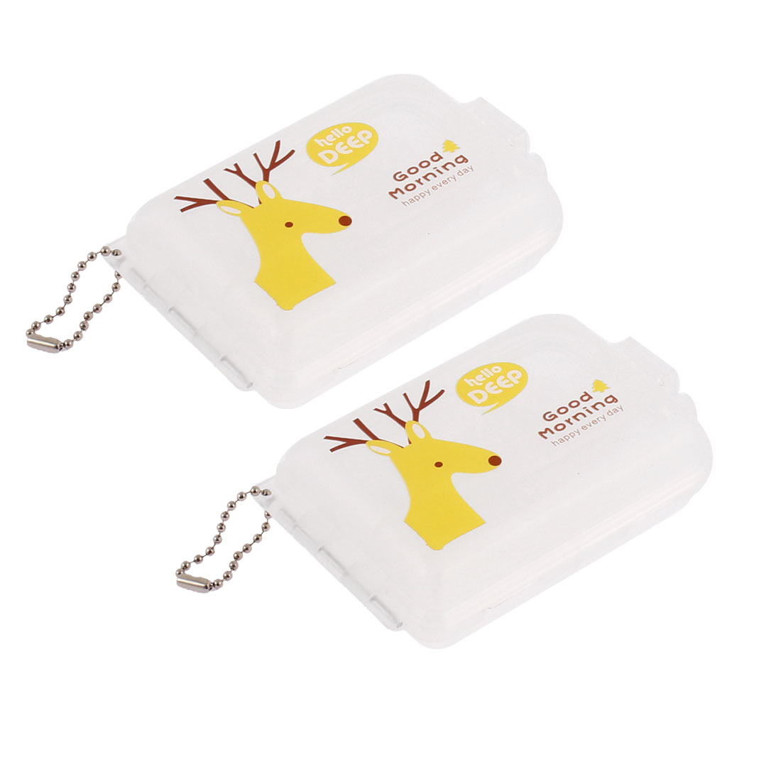 Plastic Deer Pattern 2 Layers 7 Slots Storage Box Container Case 2pcs