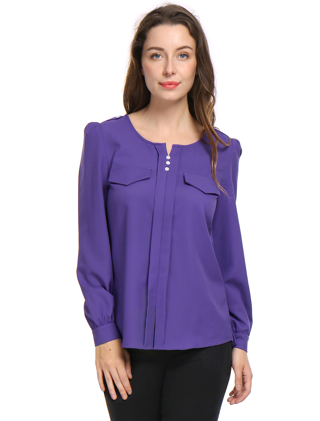 Women Buttons Decor Mock Pockets Ruched Blouse Purple M
