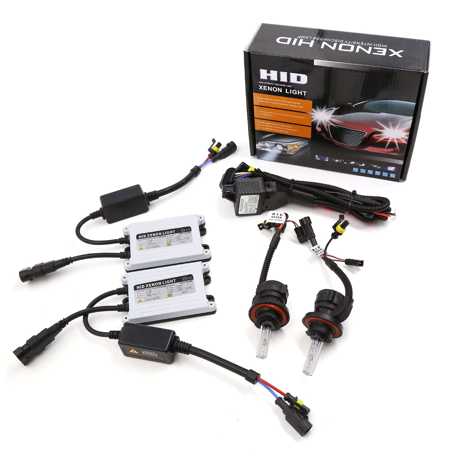 AC 55W H13 Hid Headlight kit w/ SLIM Ballast Bi Xenon Hi Low Beam 6000k