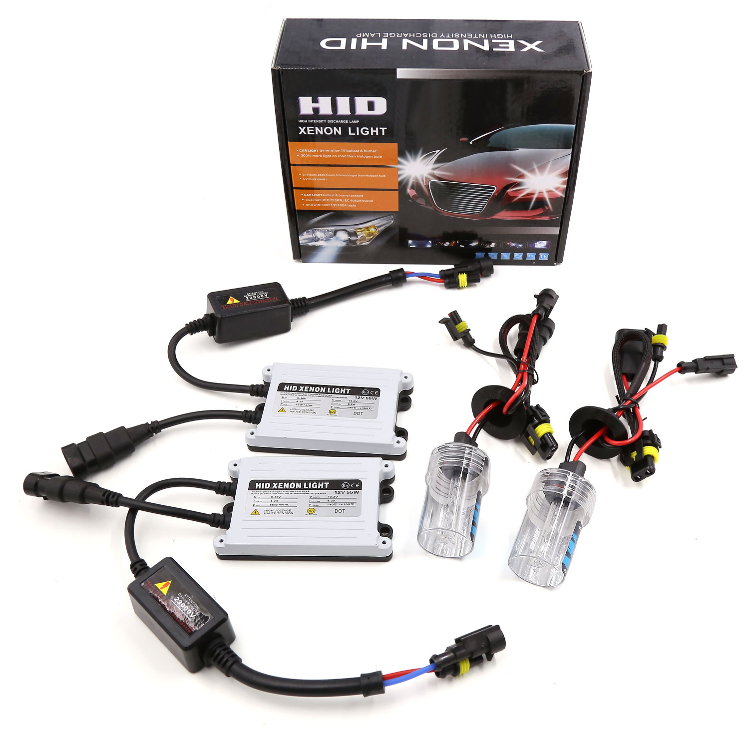 Set of AC 55W 9006 HID Xenon Headlight Kit with SLIM Ballast 6000K