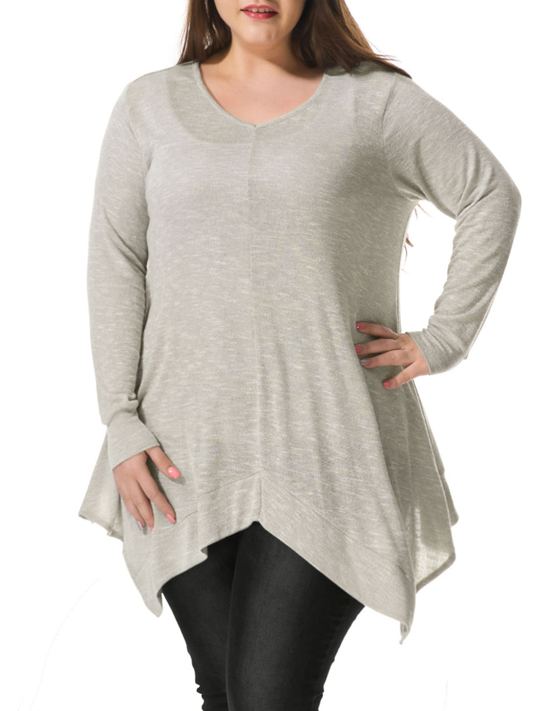 Women Plus Size V Neck Asymmetric Hem Tunic Top Gray 2X