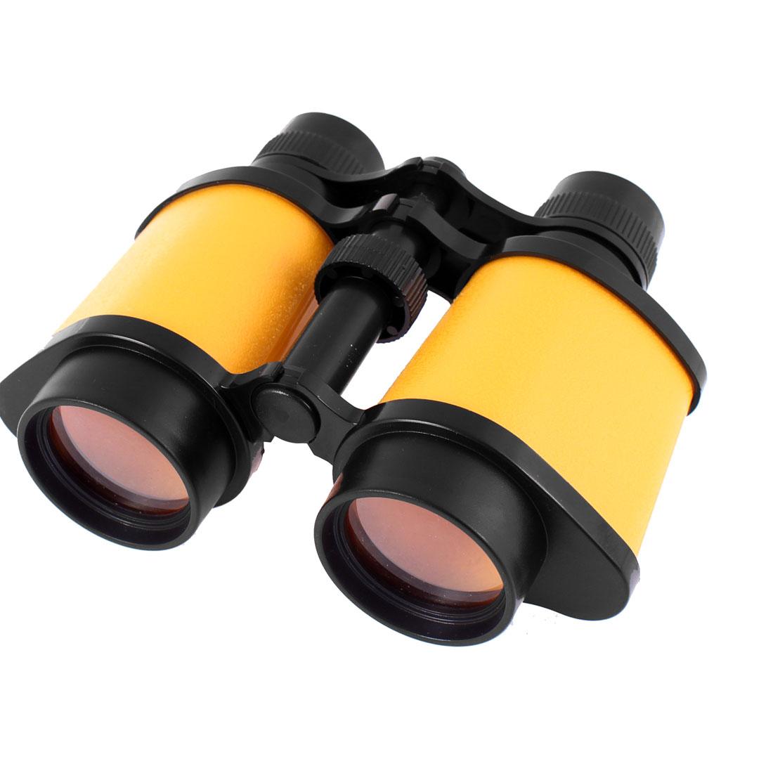 Plastic Hang String Transparent Lens Adjustable Binocular Yellow