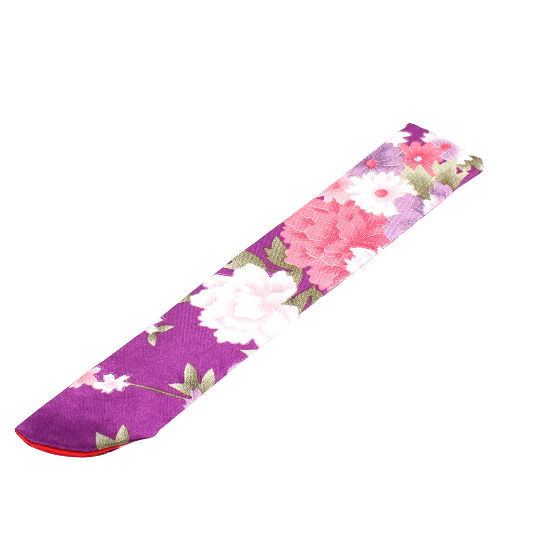 Silk Blend Floral Pattern Printed Classic Style Hand Fan Pouch Purple