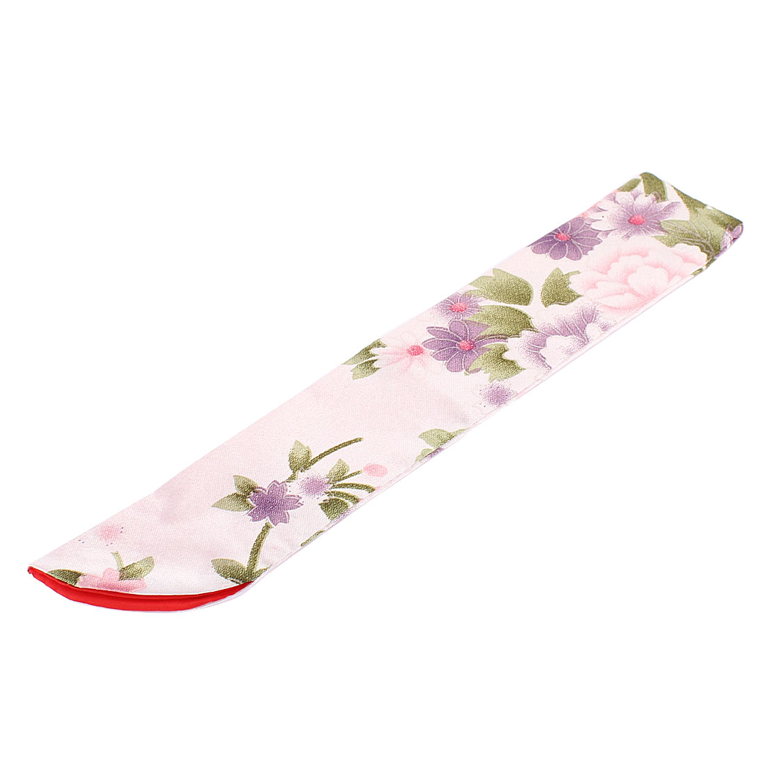 Silk Blend Flower Pattern Classic Feel Hand Fan Pouch White