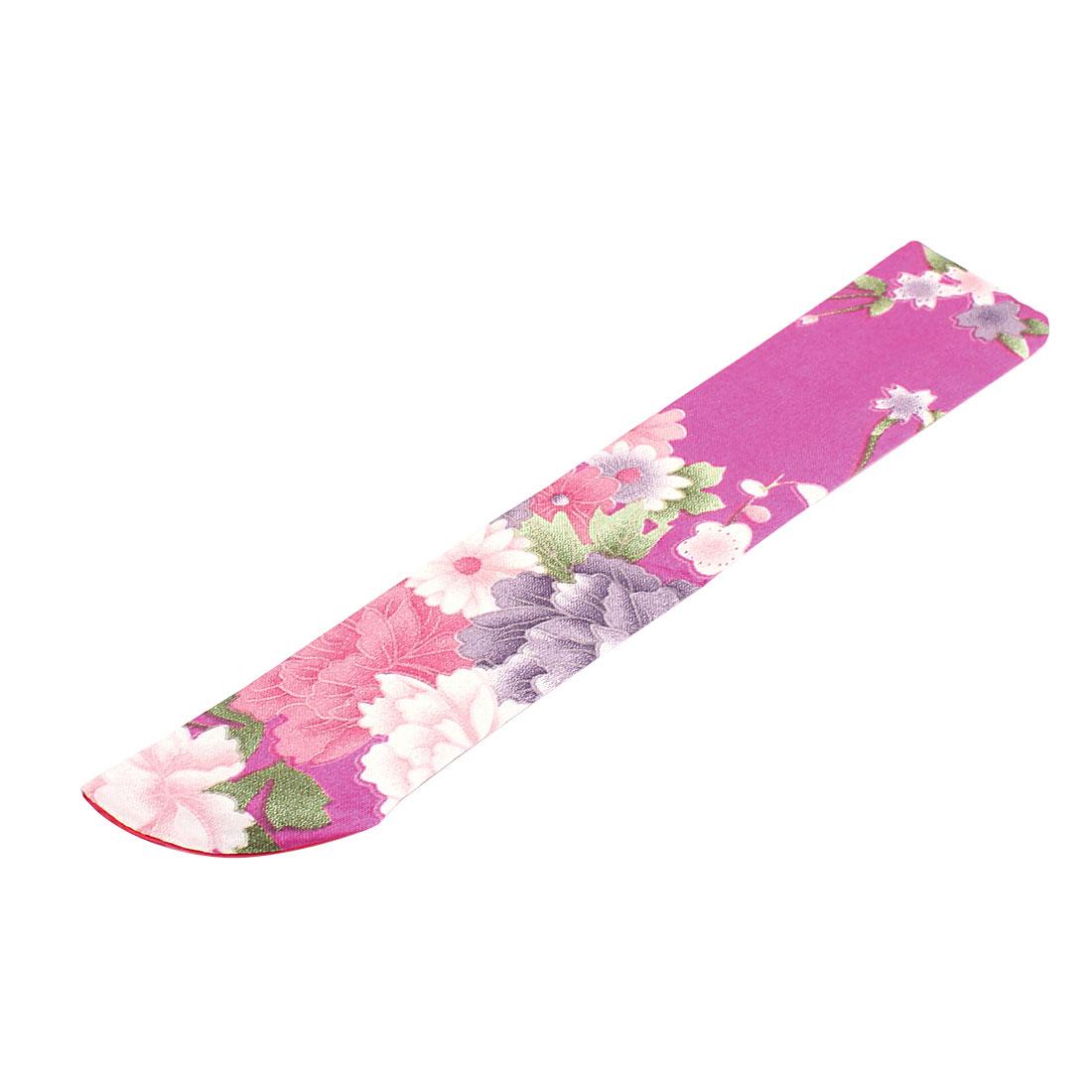 Soft Silk Blend Flower Pattern Classic Fan Pouch Fuchsia