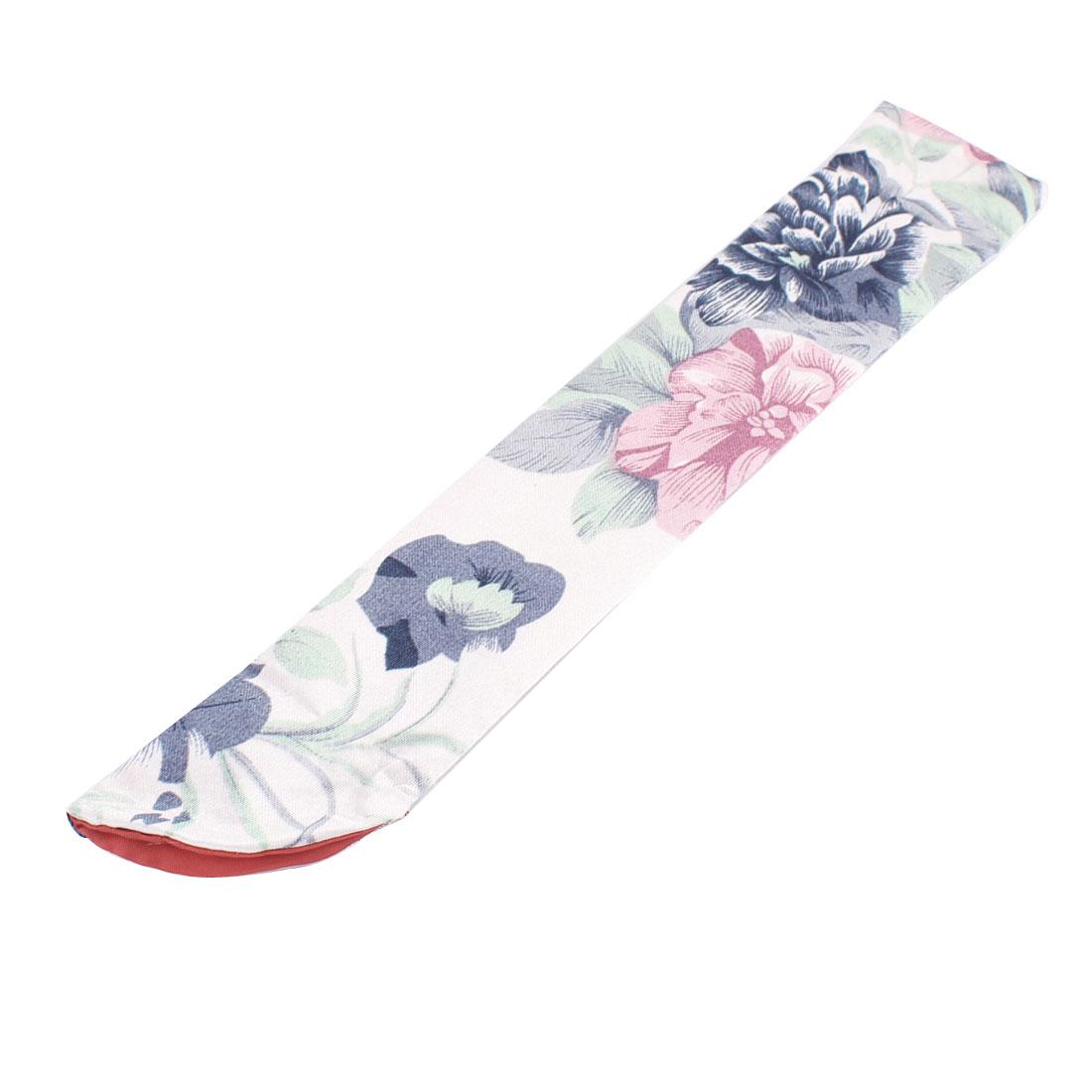 Silk Blend Flower Pattern Classic Style Hand Fan Pouch Ash Gray