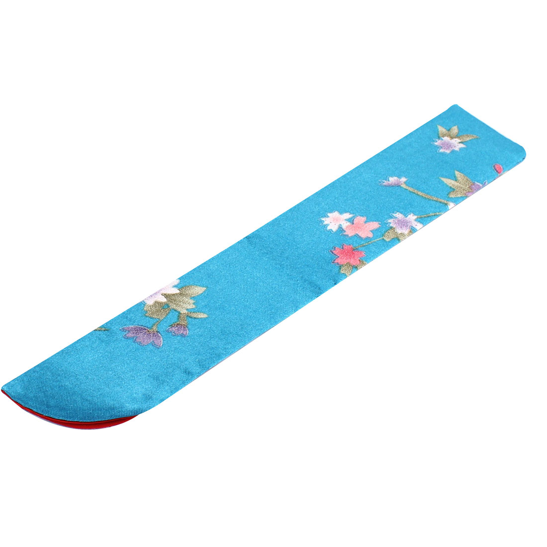 Smooth Silk Blend Folding Floral Pattern Classic Style Fan Pouch Teal Blue