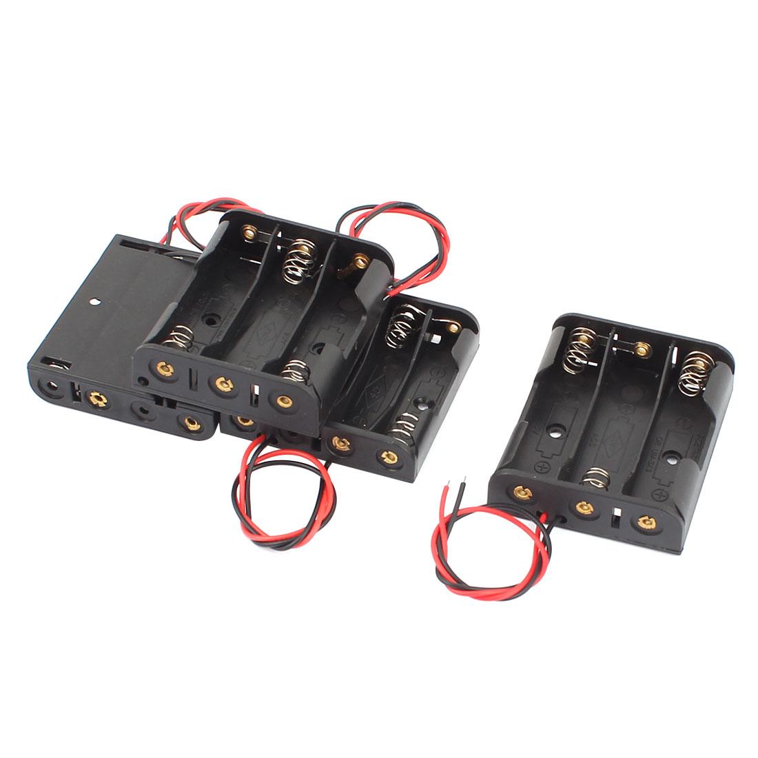 4 Pcs Wire Lead 3x1.5V AA 4x1.5V AAA Battery Case Holder Box Black