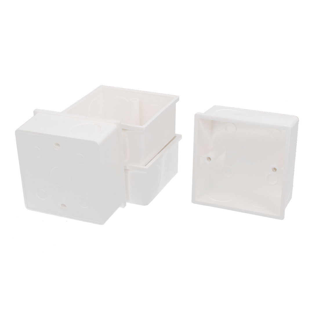 4 Pcs 86mmx86mmx43mm White PVC Mount Back Box for Wall Socket