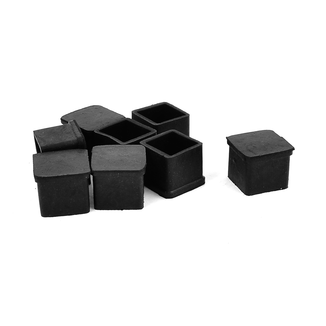 8 Pcs Square Rubber Furniture Table Foot Leg Cover Pad Floor Protector 20mm x 20mm