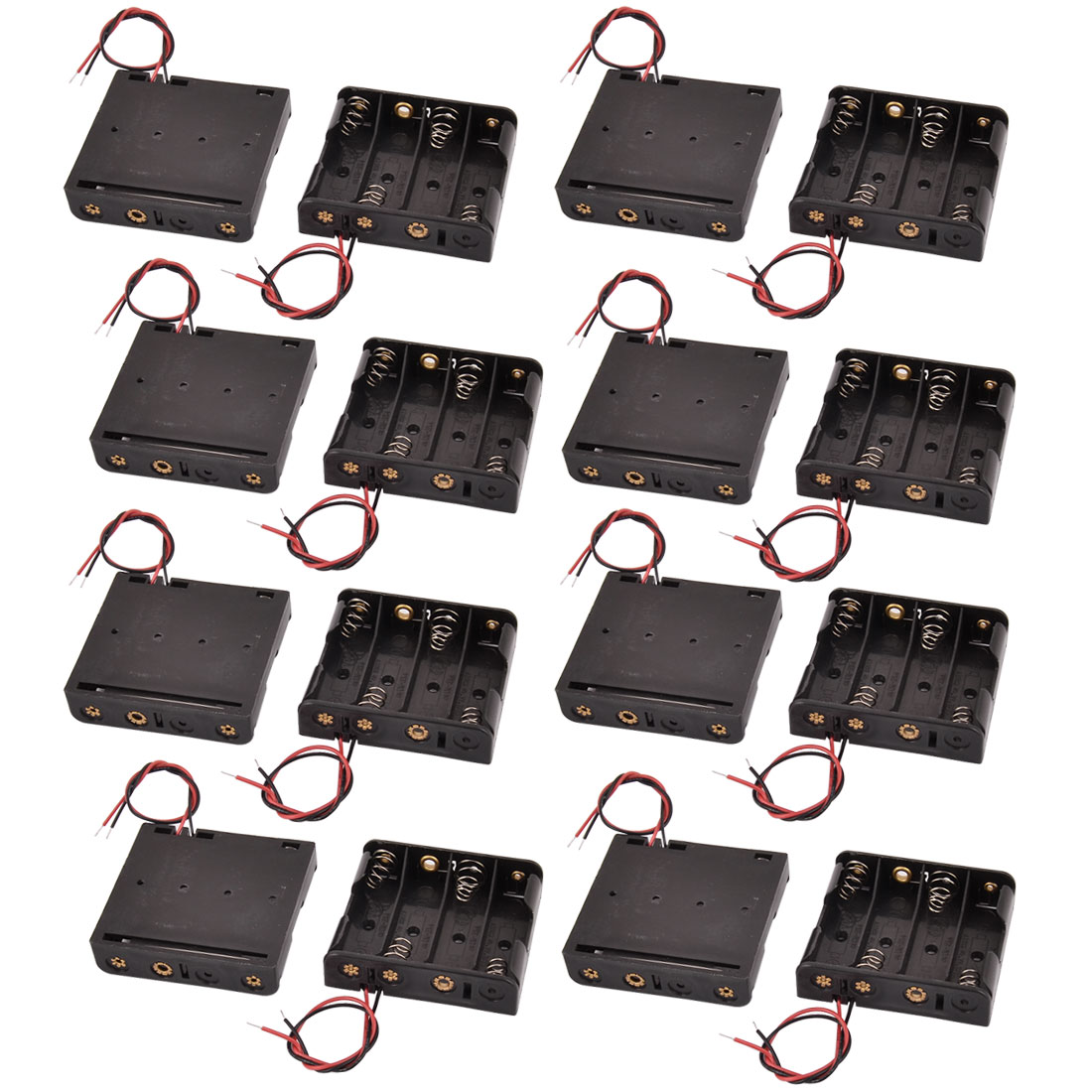 16 Pcs 4 x 1.5V AA Black Battery Batteries Holder Case with Wire Leads