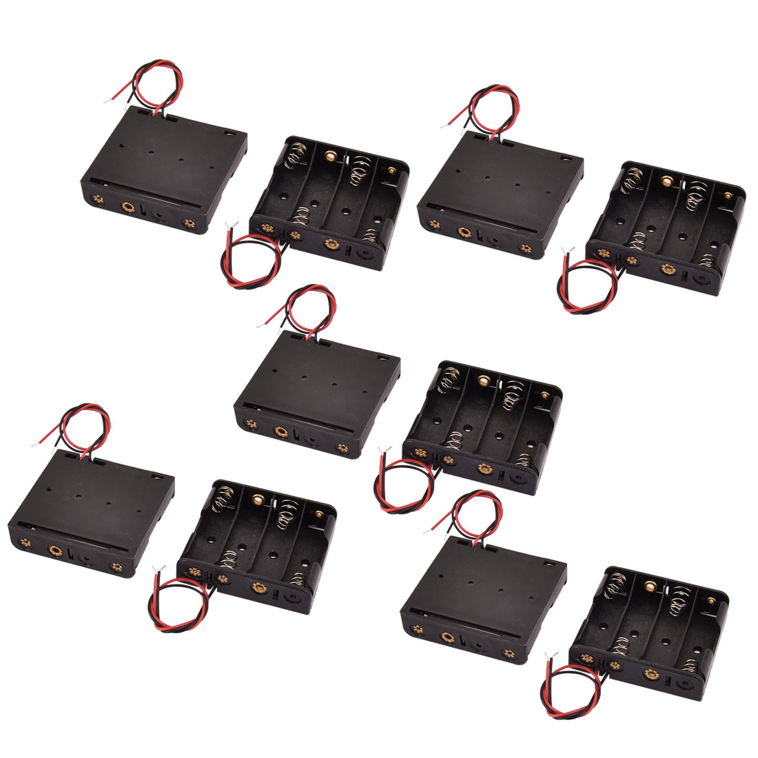 10 Pcs 4 x 1.5V AA Black Battery Batteries Holder Case with Wire Leads