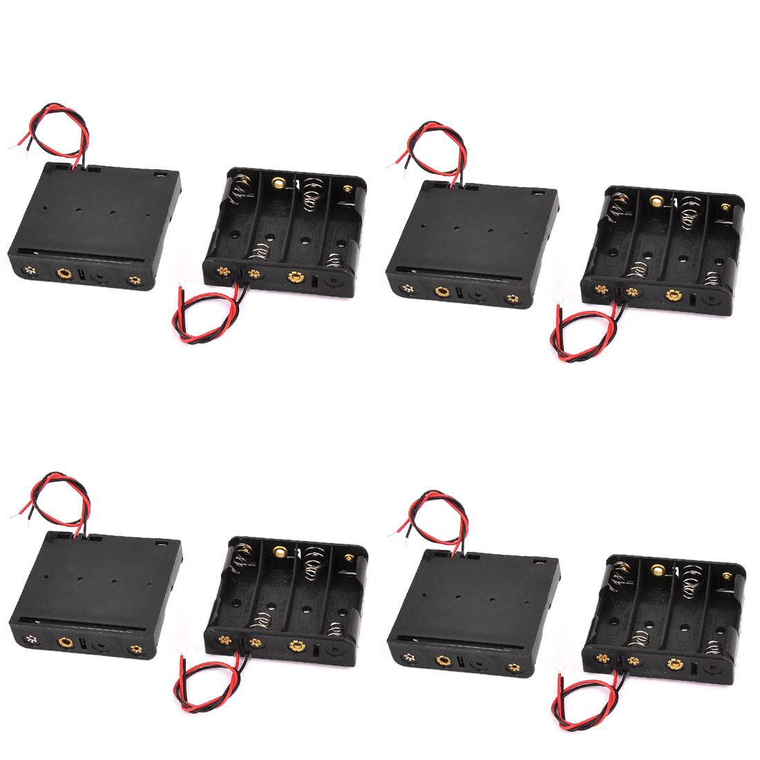 8 Pcs 4 x 1.5V AA Black Battery Batteries Holder Case with Wire Leads
