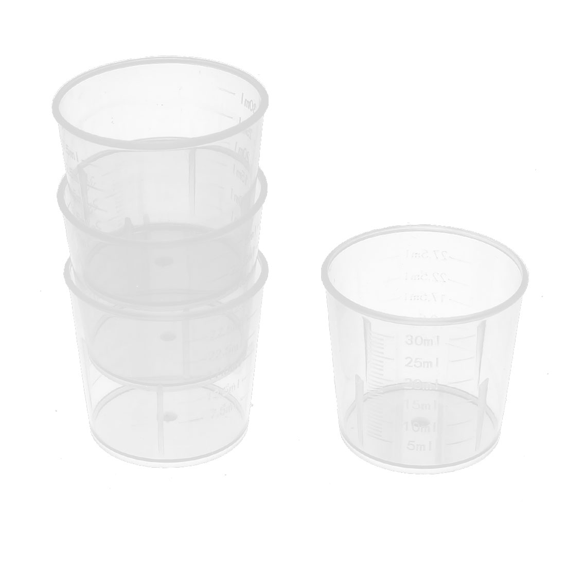 4 Pcs 30ml Clear White Plastic medicine measuring Measure cups gallipots