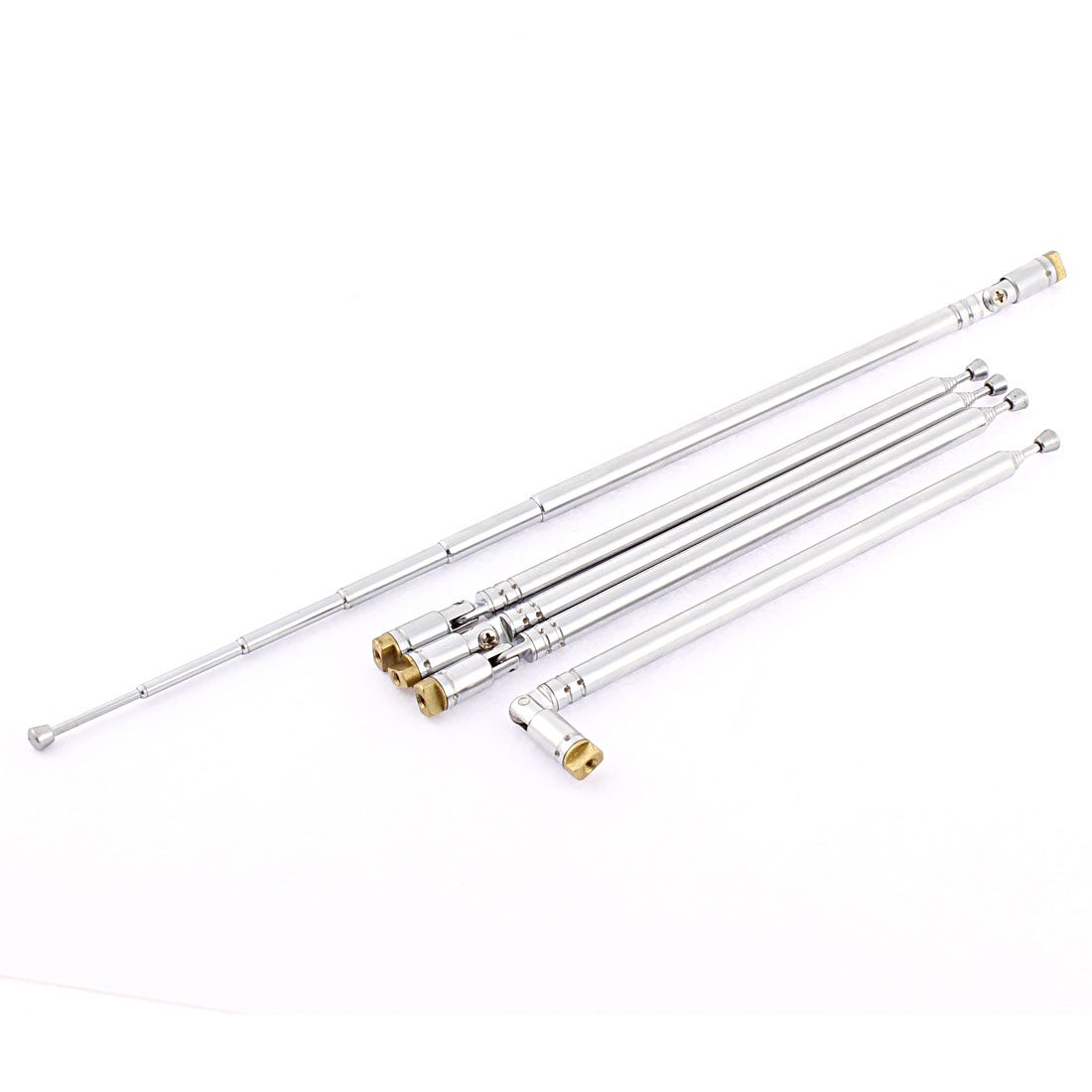 Rotatable 6 Sections Metal Car Radio Telescopic Antenna Silver Tone 5PCS