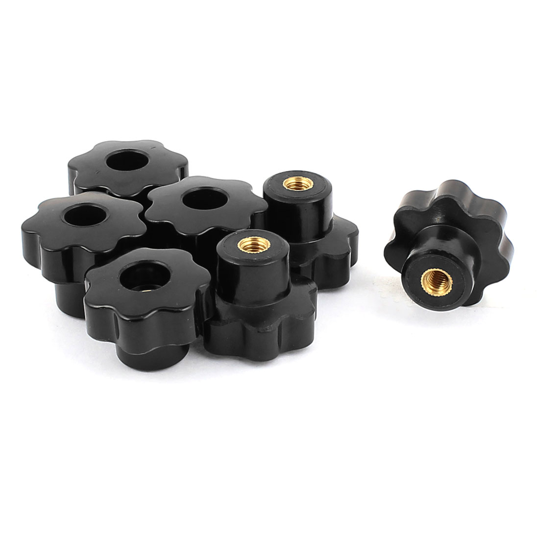 M6 Female Thread Grip Replacement Head Clamping Nuts Star Knob 7 Pcs