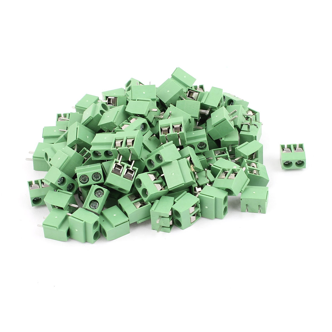 100 Pcs 5.0V 300V 10A 2 positions 1mm Pitch Pluggable Terminal Block Green