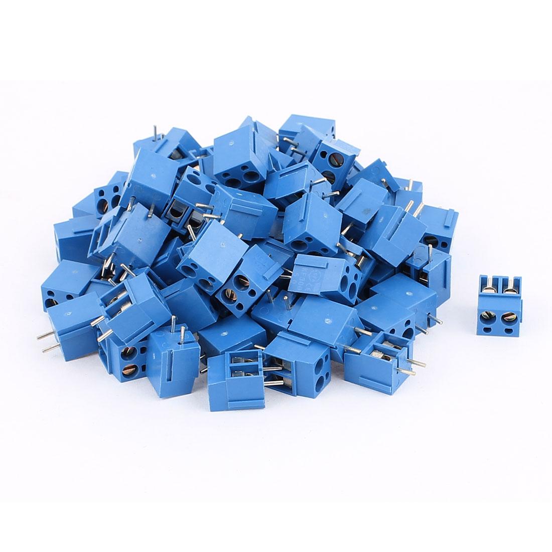 80 Pcs AC300V 16A 2 positions 1mm Pitch Pluggable Terminal Block Blue