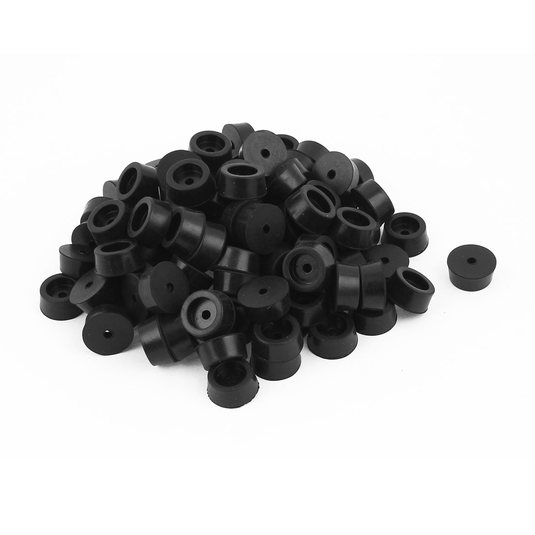100 Pcs 18mm x 8mm Conical Rubber Furniture Bumper Foot Cover Pad Black