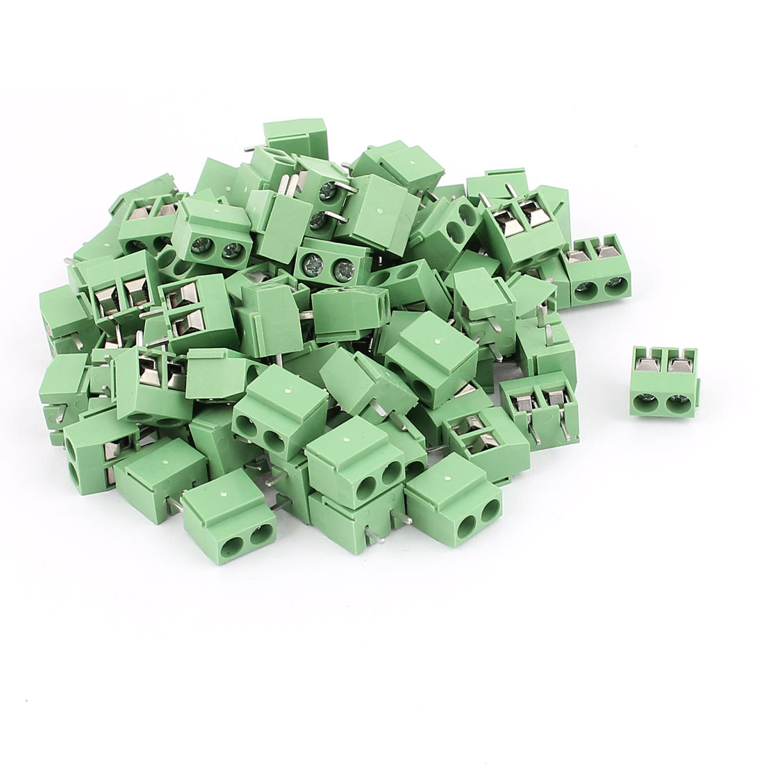 83 Pcs 5.0V 300V 10A 2 positions 1mm Pitch Pluggable Terminal Block Green