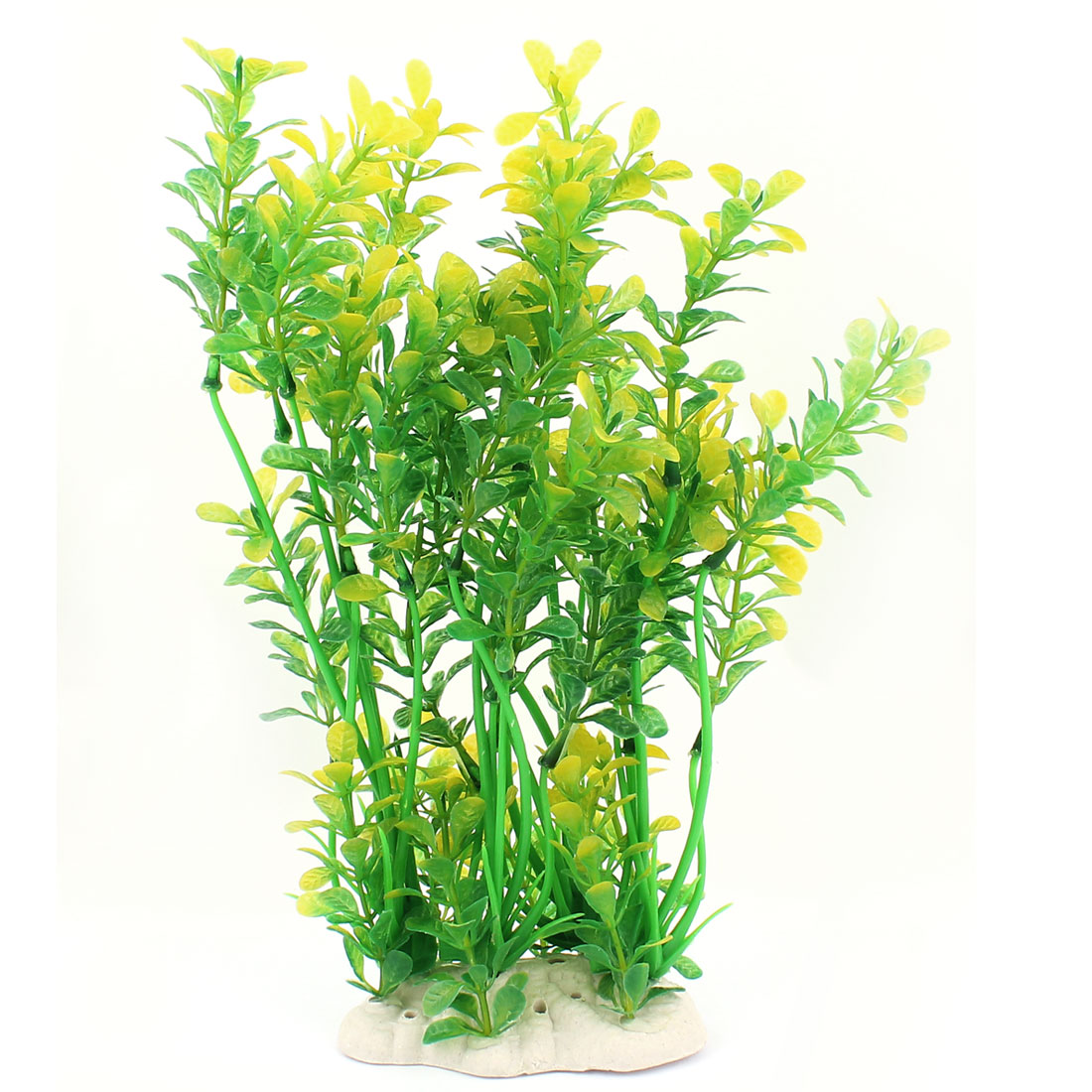 "Ceramic Base Plastic Grass Aquarium Fish Tank Water Plant Green 11"" High"