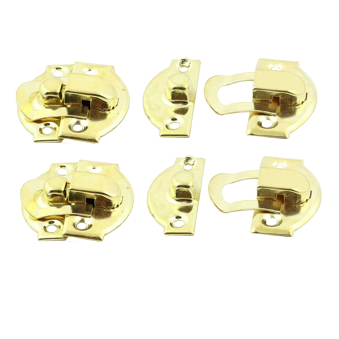 Jewelry Case Box Suitcase Hasp Lock Latch Gold Tone 4PCS