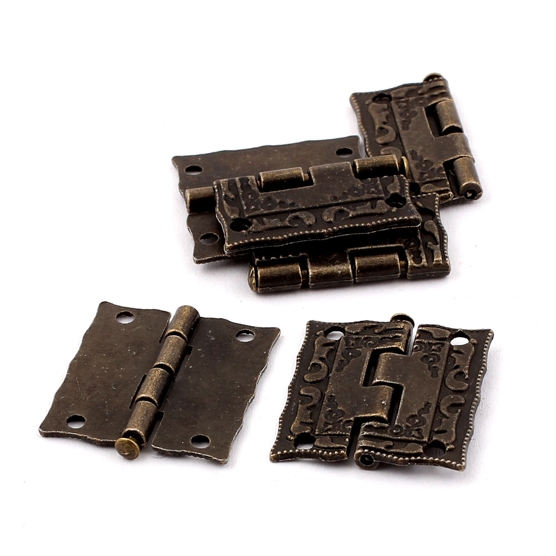 Antique Style Case Jewelry Box Door Cabinet Hinges Bronze Tone 6PCS