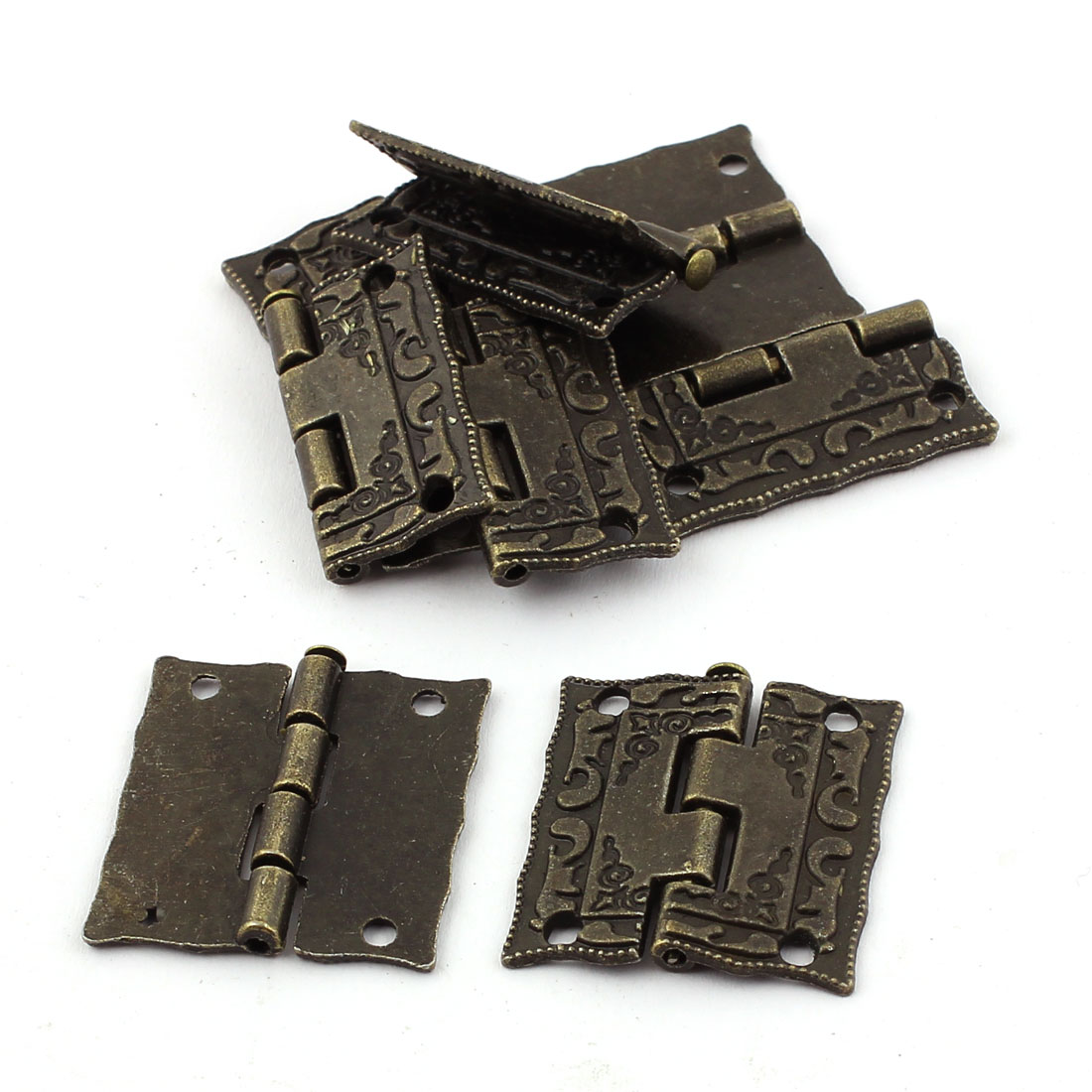 Retro Style Case Jewelry Box Drawer Cabinet Butt Hinges Bronze Tone 8PCS